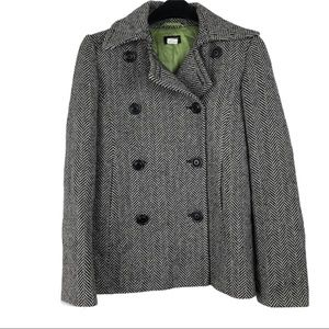 J Crew Wool Pea Coat Pocket Front Double Button Size S